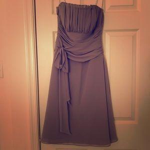 Gray tea length chiffon dress